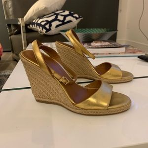 Tory Burch Gold Wedges 8.5